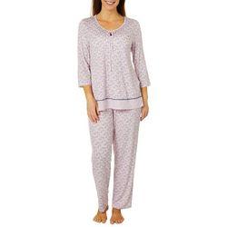 Ellen Tracy Womens Bouquet Border Print Pajama Pants Set