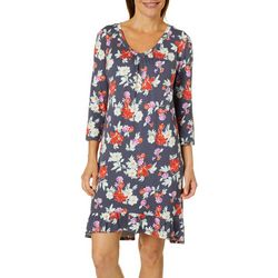 Ellen Tracy Womens Floral Print Ruffle Nightgown