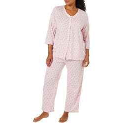 Aria Womens Eiffel Tour Print Pajama Pants Set