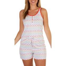 Sleepwear Rainbow Heart Print Pajama Shorts Set
