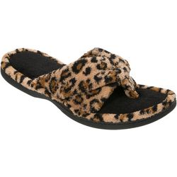 Dearfoams Womens Leopard Print X-Thong Slide Slippers