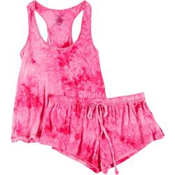 Juniors 2-Pc. Tie Dye Pajama Shorts & Tank Set