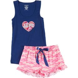 Lala Sleepwear Juniors 2-Pc. Love Camo Pajama Shorts Set