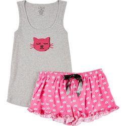 Lala Sleepwear Juniors Cat Pajama Shorts Set