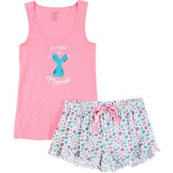 Lala Sleepwear Juniors Mermaid Pajama Shorts Set