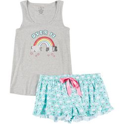 Lala Sleepwear Juniors 2-Pc. Over It Pajama Shorts