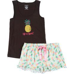 Lala Sleepwear Juniors Pineapple Pajama Shorts Set
