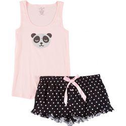 Lala Sleepwear Juniors Panda Dot Pajama Shorts Set