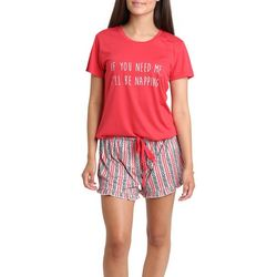Wallflower Juniors I'll Be Napping Pajama Shorts Set