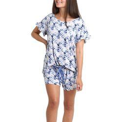 Juniors Tie Dye Ruffled Pajama Shorts Set