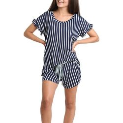 Juniors Striped Ruffled Pajama Shorts Set