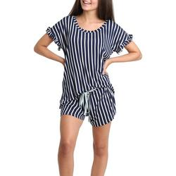 Juniors Striped Ruffled Pajama Shorts Set