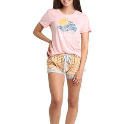 Juniors Beach Waves Vacay Vibes Pajama Shorts Set