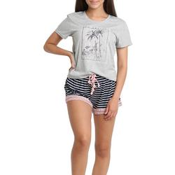 Juniors West Coast Graphic Pajama Shorts Set