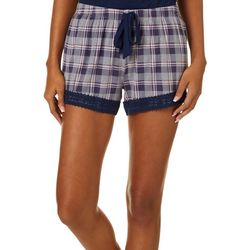Juniors Plaid Pajama Shorts