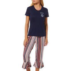 Wallflower Juniors Dreamer Bell Hem Pajama Capri Set
