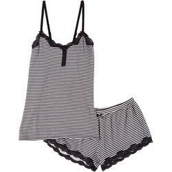 Juniors Lace Trim Mirco Stripe Pajama Shorts Set