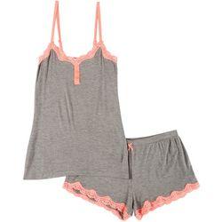 Juniors Lace Trim Heather Pajama Shorts Set