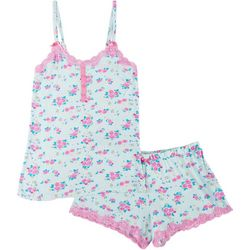 Juniors Ditsy Floral Lace Trim Pajama Shorts Set