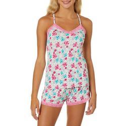 Juniors Tropical Floral Lace Trim Pajama Shorts Set