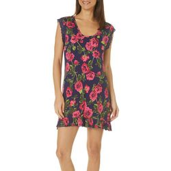 Betsey Johnson Womens Floral Print Ruffle Nightgown