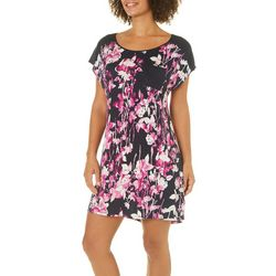 Midnight Womens Floral Pocket Nightgown