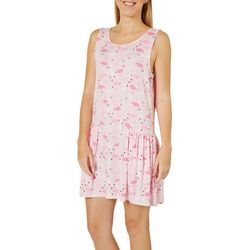 Jaclyn Intimates Womens Flamingo Print Tank Lounge Dress