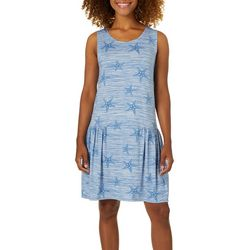 Jaclyn Intimates Womens Sea Star Waves Tank Lounge Dress