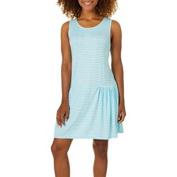 Jaclyn Intimates Womens Dutch Stripe Print Tank Lounge Dress