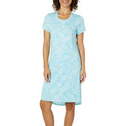 Jaclyn Intimates Womens Seashell Paisley High-Low Nightgown