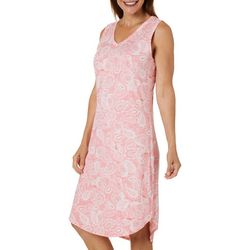 Jaclyn Intimates Womens Paisley Seashell  V-Neck Nightgown