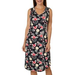 Jaclyn Intimates Womens Hawaiian V-Neck Nightgown