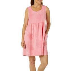 Coral Bay Womens Turtle Terry Sleeveless Leisure Dress