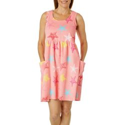 Coral Bay Womens Starfish Sleeveless Leisure Dress