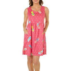 Coral Bay Womens Flip Flop Dot Leisure Dress