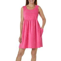 Coral Bay Womens Solid Terry Leisure Dress