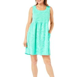 Coral Bay Womens Palm Tree Terry Leisure Dress