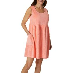 Coral Bay Womens Palm Flamingo Sleeveless Leisure Dress