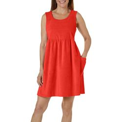 Coral Bay Womens Solid Striped Accent Terry Leisure Dress