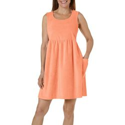 Coral Bay Womens Solid Terry Sleeveless Leisure Dress