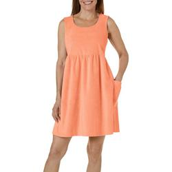 Womens Solid Terry Sleeveless Leisure Dress