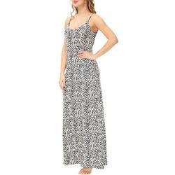Womens Zebra Strappy Maxi Nightgown