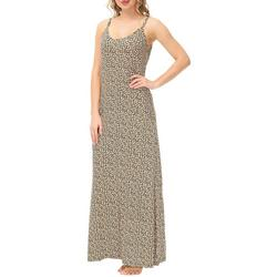 Womens Leopard Print Strappy Maxi Nightgown