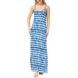 Ink + Ivy Womens Tie Dye Strappy Maxi Nightgown