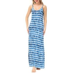 Womens Tie Dye Strappy Maxi Nightgown