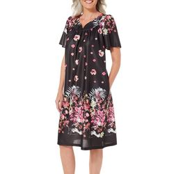 Lissome Womens Black Floral Split Neck Nightgown