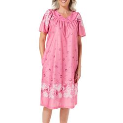Lissome Womens Floral Faux Lace Split Neck Nightgown