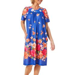Lissome Womens Royal Floral Short Sleeve Duster Robe