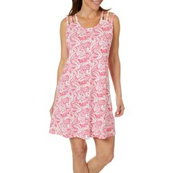 Lissome Womens Tropical Palms Strappy Leisure Dress