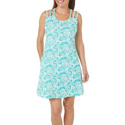 Coral Bay Womens Tropical Palms Strappy Leisure Dress